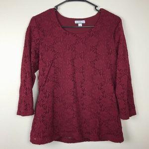 3/$20 Croft & Barrow Lace 3/4 Sleeve Top